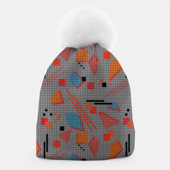 Imagen en miniatura de Abstract modern memphis geometric shapes stripes lines triangles Beanie, Live Heroes