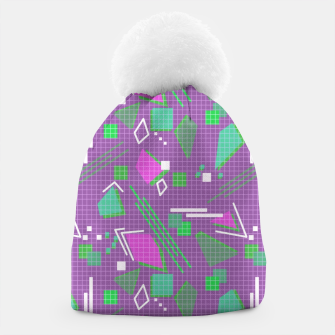 Miniaturka Memphis geometric abstract violet shapes stripes lines Beanie, Live Heroes