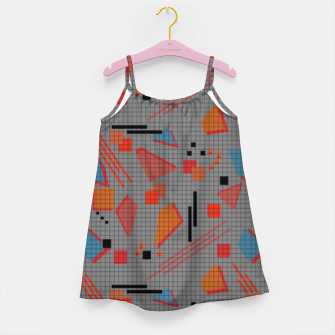 Miniaturka Abstract modern memphis geometric shapes stripes lines triangles Girl's dress, Live Heroes