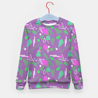 Miniaturka Memphis geometric abstract violet shapes stripes lines Kid's sweater, Live Heroes
