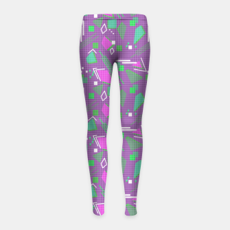 Miniaturka Memphis geometric abstract violet shapes stripes lines Girl's leggings, Live Heroes