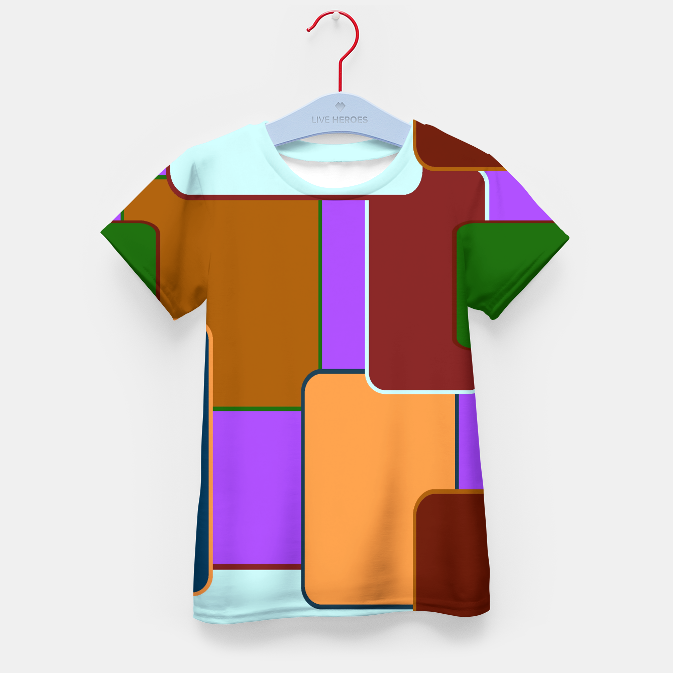 Image de Retro squares on purple Camiseta para niños - Live Heroes