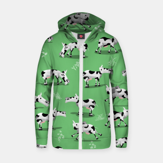 Thumbnail image of Cow Pattern Zip up hoodie, Live Heroes