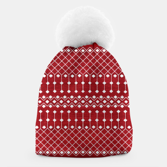 Berry Red Traditional Berber Bohemian Moroccan Design  Beanie thumbnail image