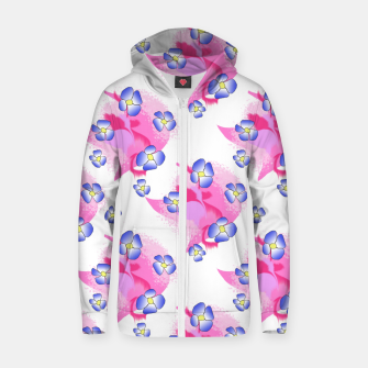 Blue Flowers On Pink Zip up hoodie thumbnail image