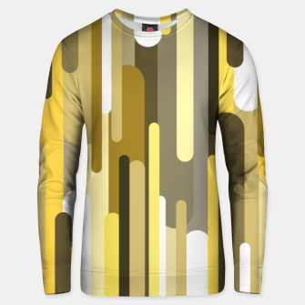 Flowing drops of paint in gold yellow, abstract liquid flow, golden background Unisex sweater thumbnail image