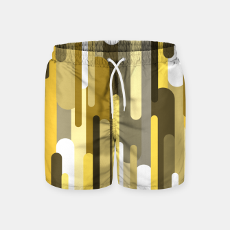 Thumbnail image of Flowing drops of paint in gold yellow, abstract liquid flow, golden background Swim Shorts, Live Heroes