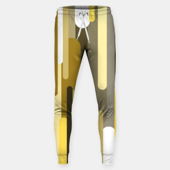 Miniaturka Flowing drops of paint in gold yellow, abstract liquid flow, golden background Sweatpants, Live Heroes