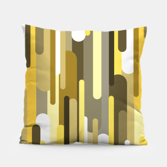 Thumbnail image of Flowing drops of paint in gold yellow, abstract liquid flow, golden background Pillow, Live Heroes