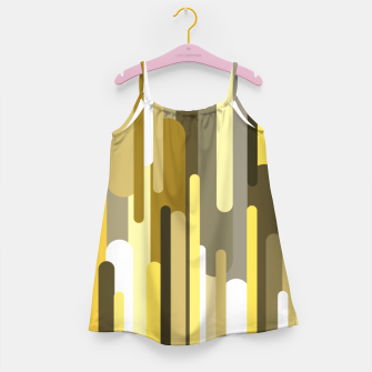 Thumbnail image of Flowing drops of paint in gold yellow, abstract liquid flow, golden background Girl's dress, Live Heroes