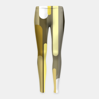 Miniaturka Flowing drops of paint in gold yellow, abstract liquid flow, golden background Girl's leggings, Live Heroes