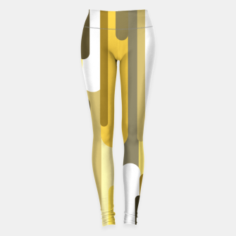 Miniaturka Flowing drops of paint in gold yellow, abstract liquid flow, golden background Leggings, Live Heroes