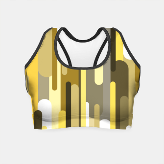 Thumbnail image of Flowing drops of paint in gold yellow, abstract liquid flow, golden background Crop Top, Live Heroes