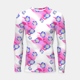 Blue Flowers On Pink Longsleeve rashguard  thumbnail image