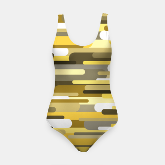 Thumbnail image of Flowing drops of paint in gold yellow, abstract liquid flow, golden background Swimsuit, Live Heroes