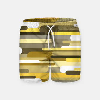 Miniaturka Flowing drops of paint in gold yellow, abstract liquid flow, golden background Swim Shorts, Live Heroes