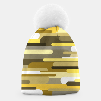 Miniaturka Flowing drops of paint in gold yellow, abstract liquid flow, golden background Beanie, Live Heroes