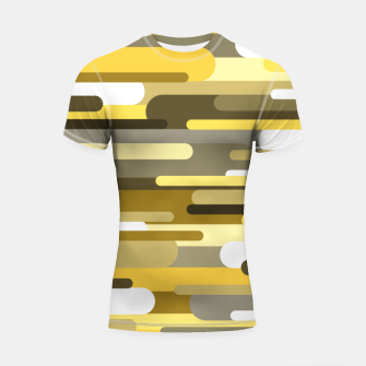Thumbnail image of Flowing drops of paint in gold yellow, abstract liquid flow, golden background Shortsleeve rashguard, Live Heroes