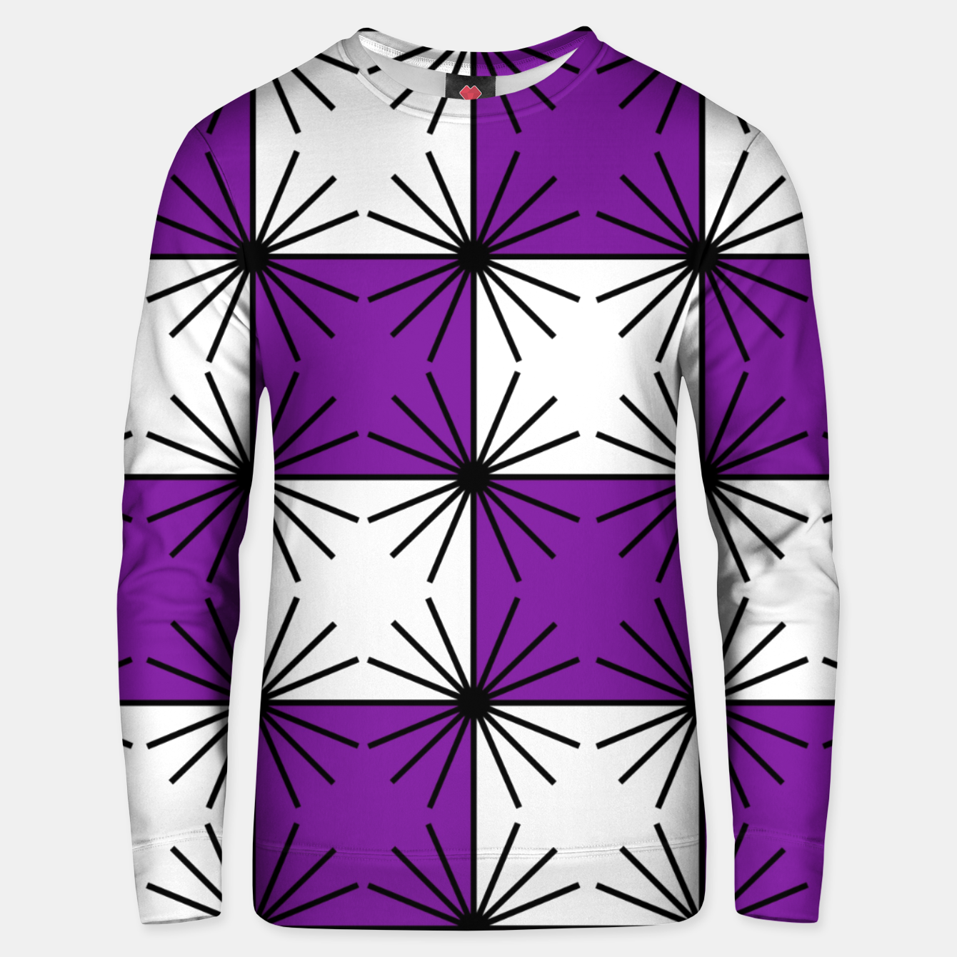 Image of Abstract geometric pattern - purple, black and white. Unisex sweater - Live Heroes