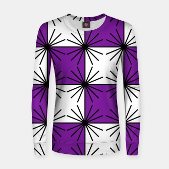 Abstract geometric pattern - purple, black and white. Women sweater thumbnail image