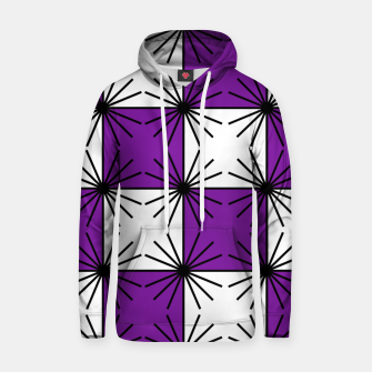 Abstract geometric pattern - purple, black and white. Hoodie thumbnail image