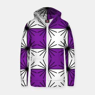 Abstract geometric pattern - purple, black and white. Zip up hoodie thumbnail image