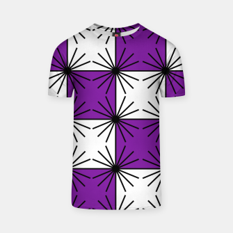 Abstract geometric pattern - purple, black and white. T-shirt thumbnail image