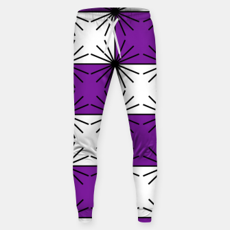 Abstract geometric pattern - purple, black and white. Sweatpants thumbnail image