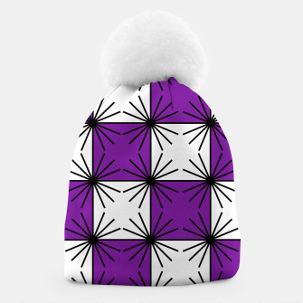 Abstract geometric pattern - purple, black and white. Beanie thumbnail image