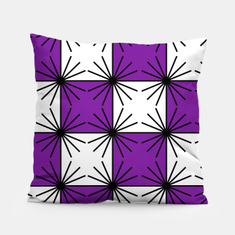 Abstract geometric pattern - purple, black and white. Pillow thumbnail image