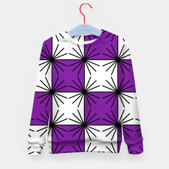 Abstract geometric pattern - purple, black and white. Kid's sweater thumbnail image