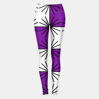 Abstract geometric pattern - purple, black and white. Leggings thumbnail image