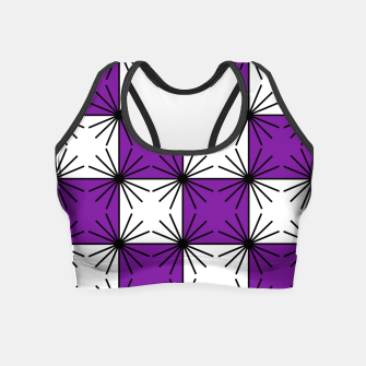 Abstract geometric pattern - purple, black and white. Crop Top thumbnail image