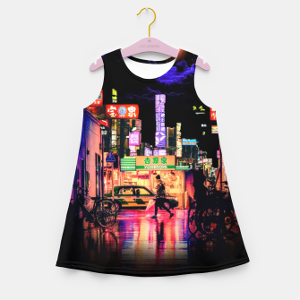 Miniaturka Neon city lights Girl's summer dress, Live Heroes