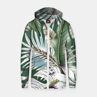 Leaves tropical summer Sudadera con capucha y cremallera  miniature