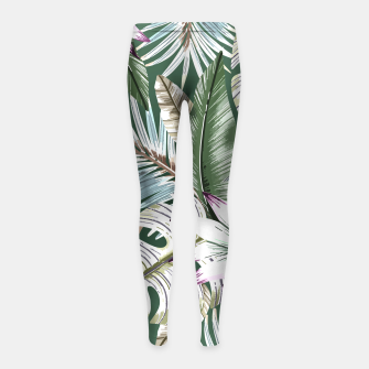Miniature de image de Leaves tropical summer Leggings para niña, Live Heroes
