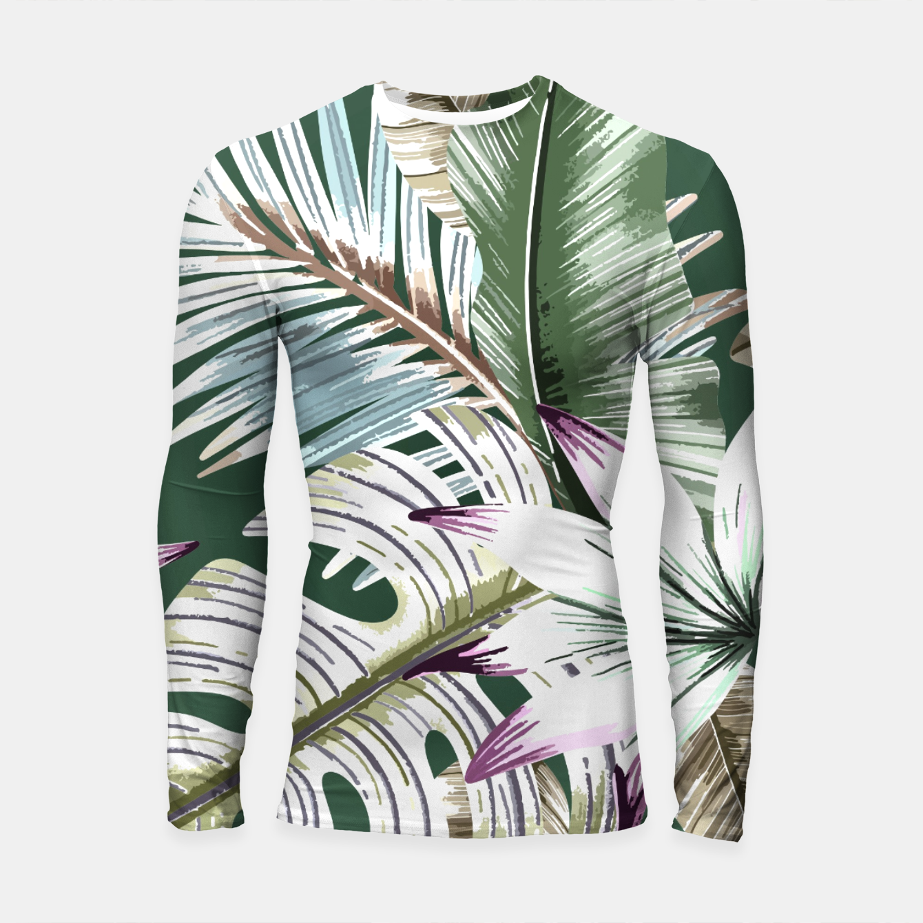 Image of Leaves tropical summer Longsleeve rashguard - Live Heroes