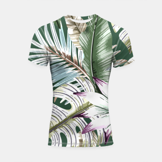 Miniatur Leaves tropical summer Shortsleeve rashguard, Live Heroes