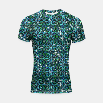 Thumbnail image of Blue Ice Sparkle Swirls Shortsleeve rashguard, Live Heroes