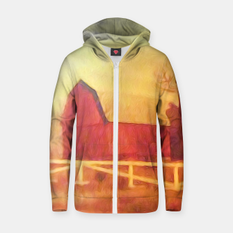 Thumbnail image of Barn Painting Zip up hoodie, Live Heroes