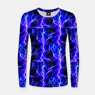 Thumbnail image of Blue Lightning Pattern Women sweater, Live Heroes