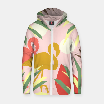 Thumbnail image of Flamingo jungle pink Zip up hoodie, Live Heroes