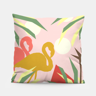 Thumbnail image of Flamingo jungle pink Pillow, Live Heroes