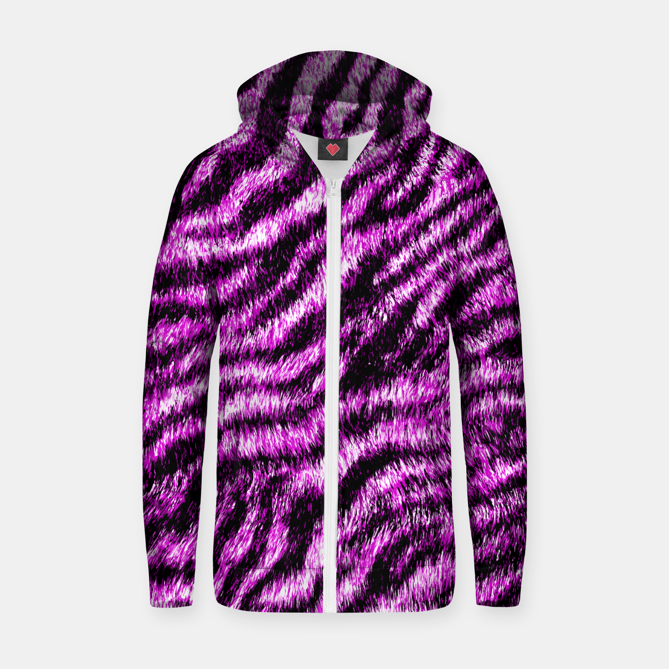 Image of Bengal Tiger Fur Wildlife Print Pattern PINK Zip up hoodie - Live Heroes