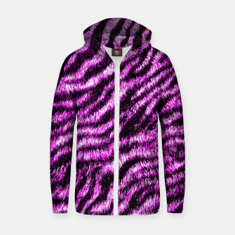 Miniatur Bengal Tiger Fur Wildlife Print Pattern PINK Zip up hoodie, Live Heroes