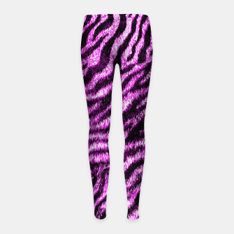 Miniatur Bengal Tiger Fur Wildlife Print Pattern PINK Girl's leggings, Live Heroes