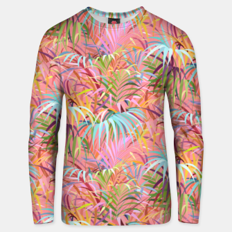 Tropical mood on a strawberry pink sunset Unisex sweater Bild der Miniatur