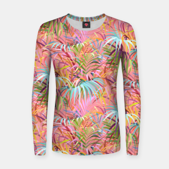 Tropical mood on a strawberry pink sunset Women sweater Bild der Miniatur