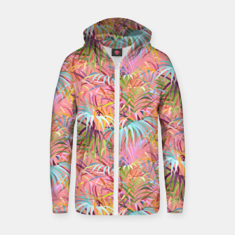 Tropical mood on a strawberry pink sunset Zip up hoodie Bild der Miniatur