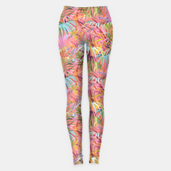 Tropical mood on a strawberry pink sunset Leggings Bild der Miniatur